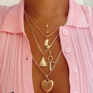 Gold Multilayer Chain Charm Necklace